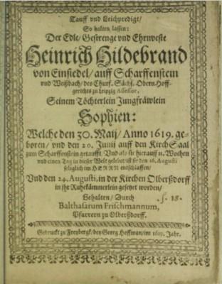 Tauff und LeichPredigt 1619, SLUB Dresden, Signatur 6.A.6162